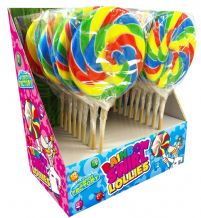 "Candy Factory Rainbow Swirly Pop Lolly 4"" 10cm"
